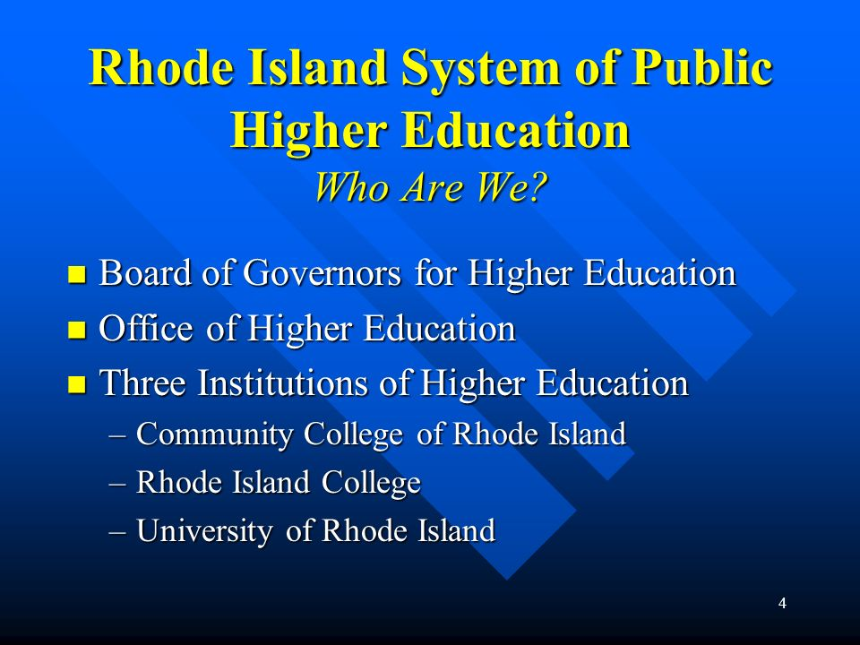 Rhode Island System of Public Higher Education Who Are We