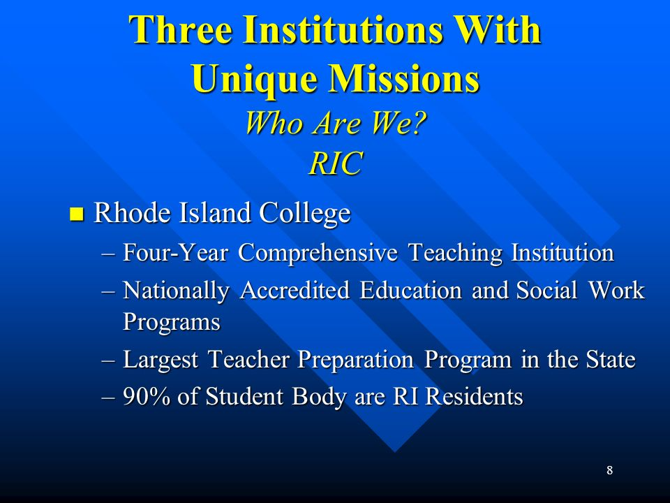 Three Institutions With Unique Missions Who Are We RIC