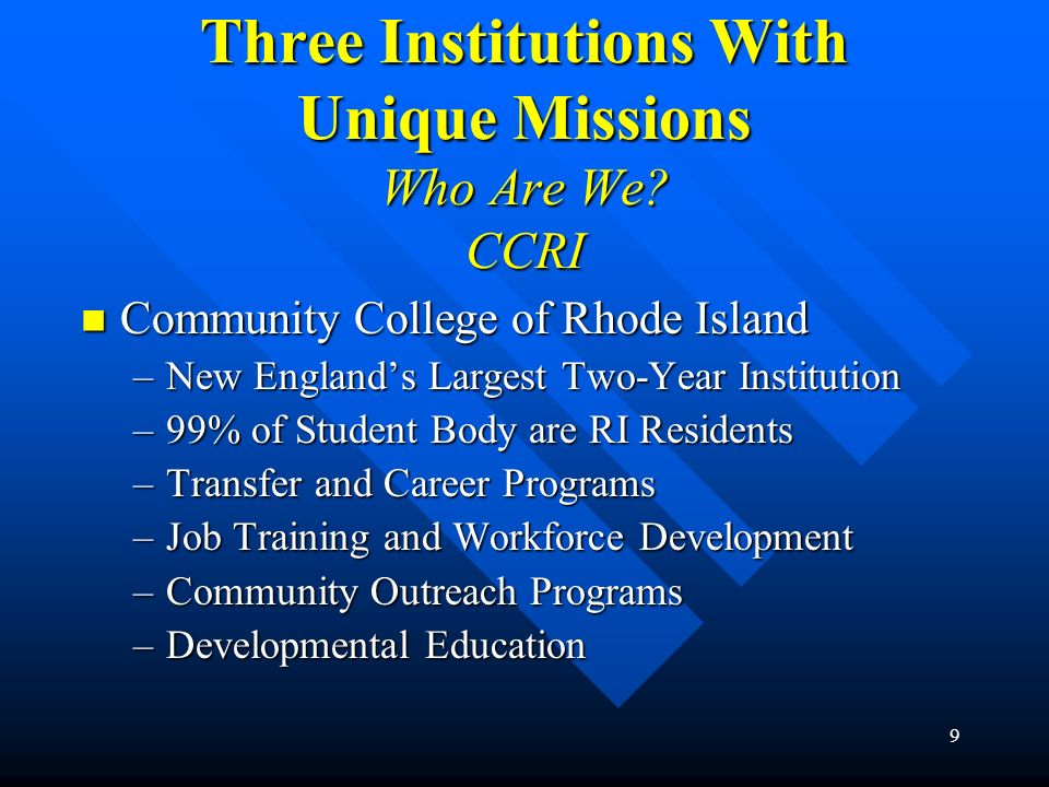 Three Institutions With Unique Missions Who Are We CCRI