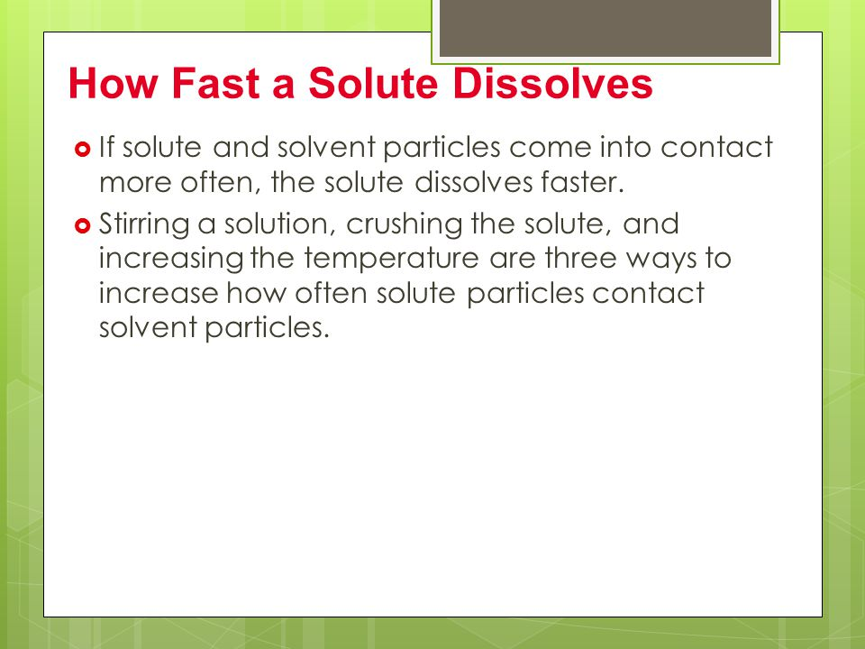 How Fast a Solute Dissolves