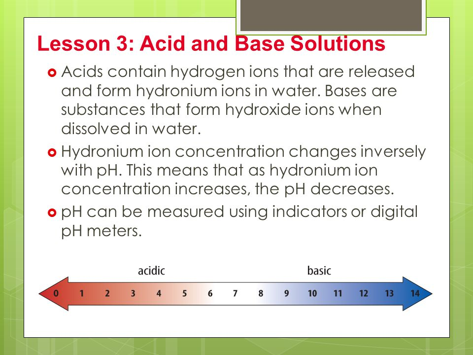 Lesson 3: Acid and Base Solutions