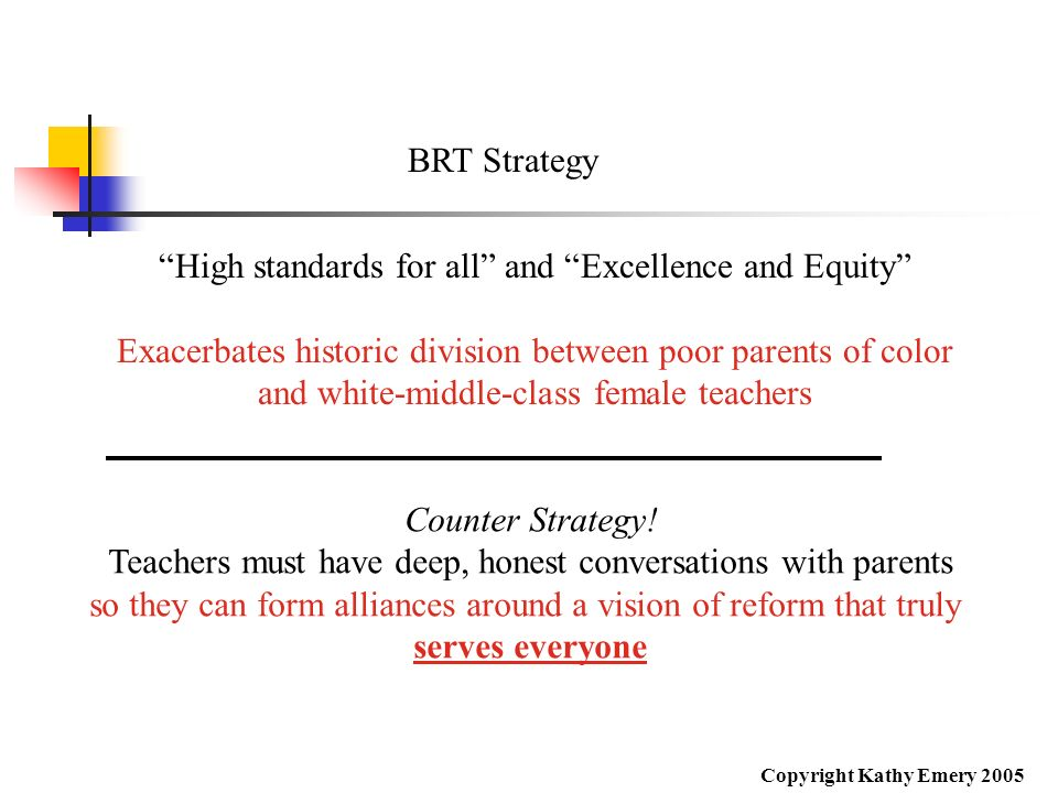 High standards for all and Excellence and Equity