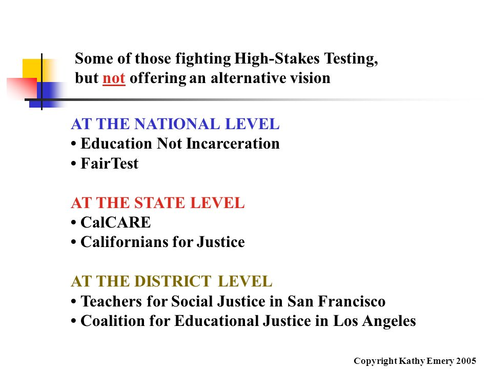 Some of those fighting High-Stakes Testing,
