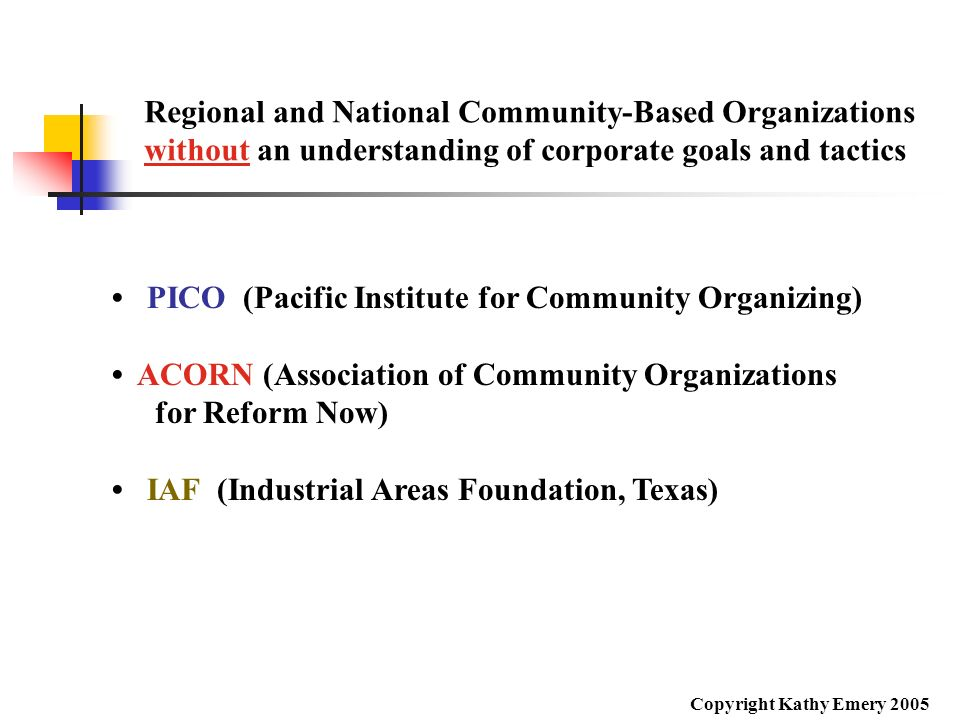 Regional and National Community-Based Organizations