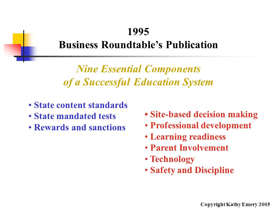 Business Roundtable's Publication Nine Essential Components