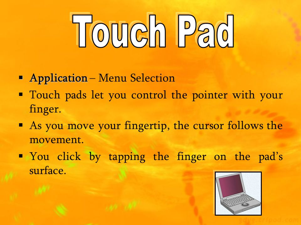 Touch Pad Application – Menu Selection