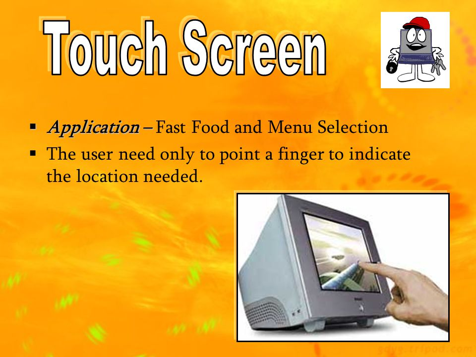 Touch Screen Application – Fast Food and Menu Selection