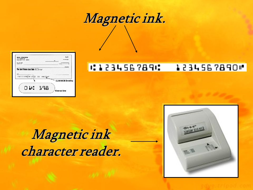 Magnetic ink character reader.