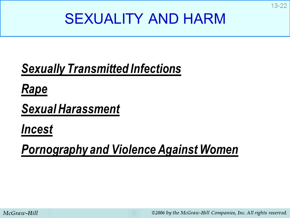 SEXUALITY AND HARM Sexually Transmitted Infections Rape