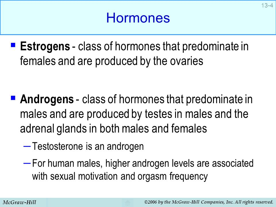 Hormones Estrogens - class of hormones that predominate in females and are produced by the ovaries.