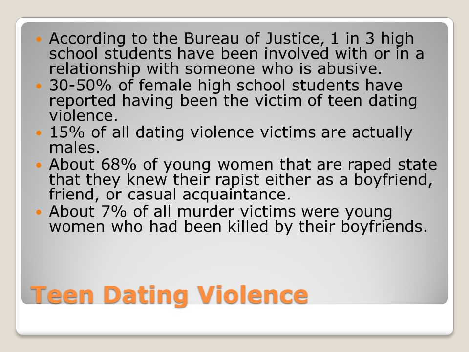According to the Bureau of Justice, 1 in 3 high school students have been involved with or in a relationship with someone who is abusive.