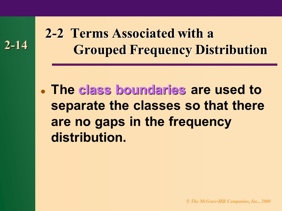 2-2 Terms Associated with a Grouped Frequency Distribution