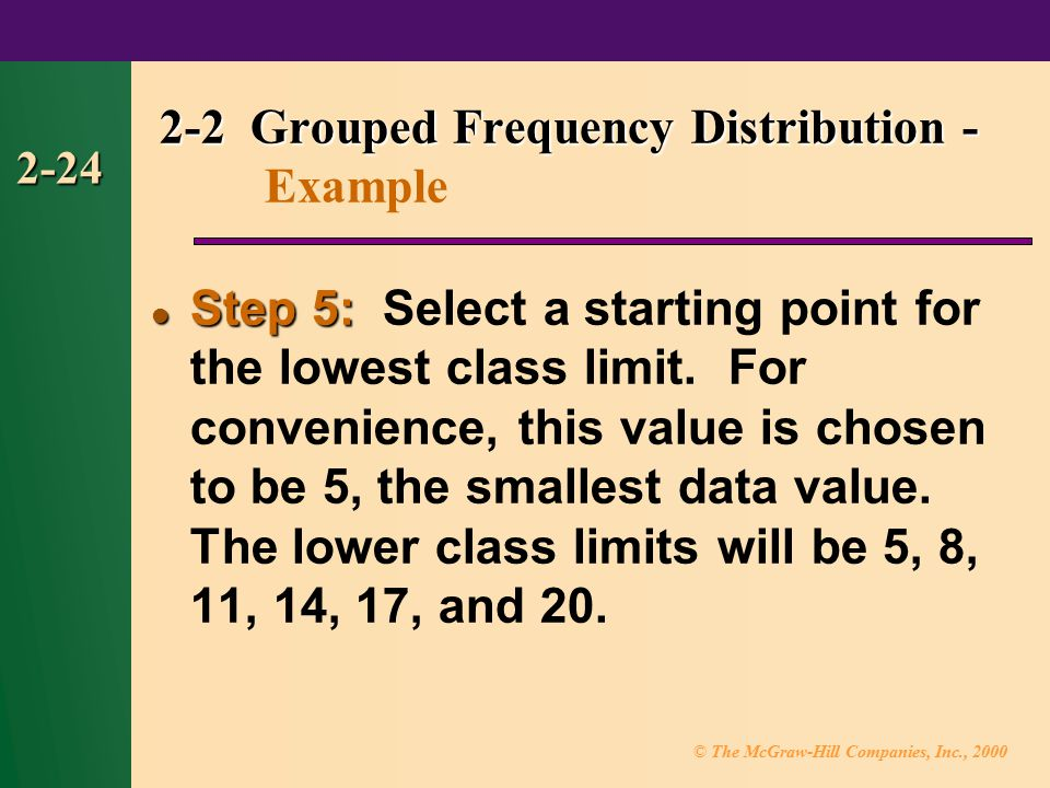 2-2 Grouped Frequency Distribution - Example