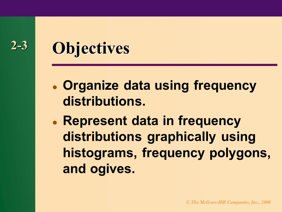 Objectives Organize data using frequency distributions.