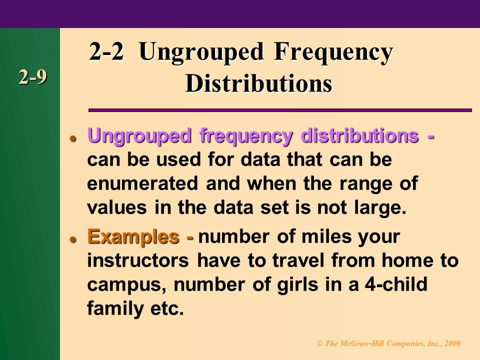 2-2 Ungrouped Frequency Distributions