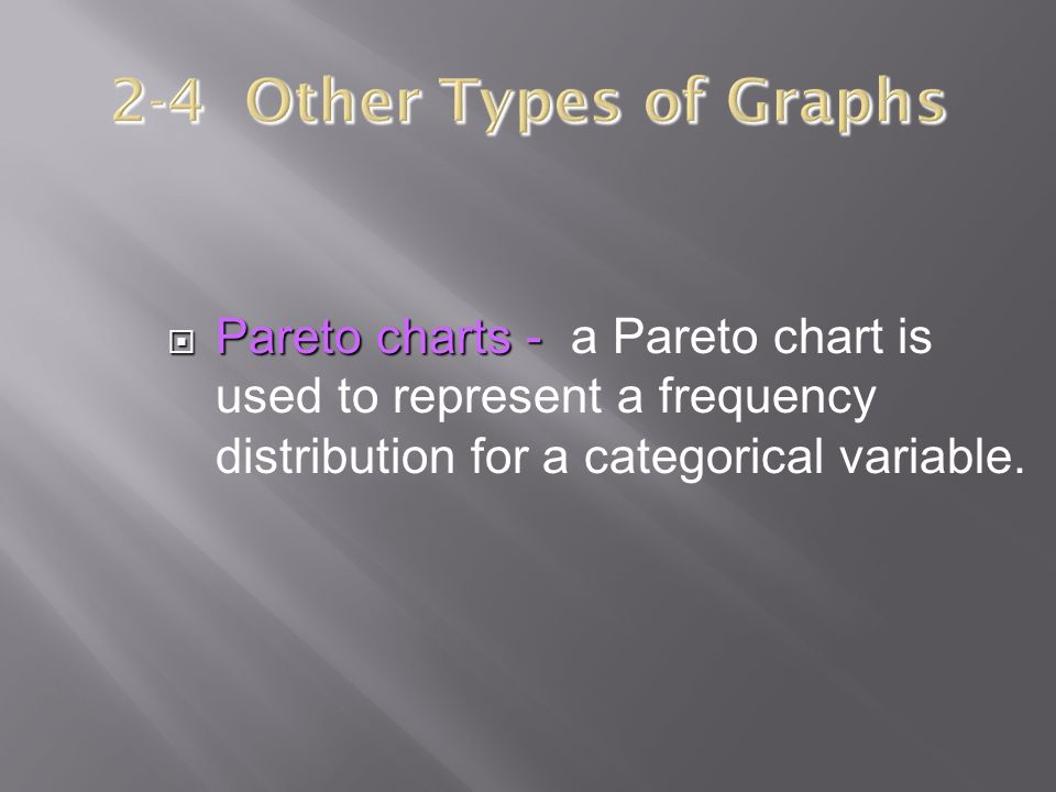 2-4 Other Types of Graphs Pareto charts - a Pareto chart is used to represent a frequency distribution for a categorical variable.
