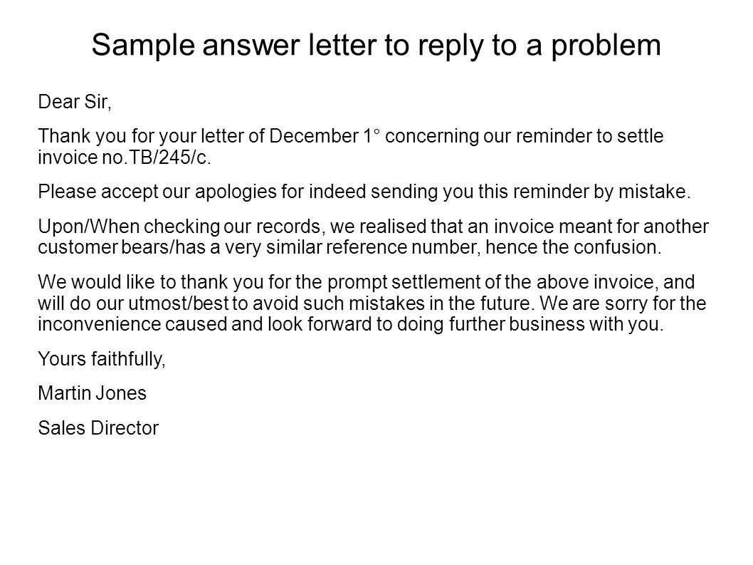 sample answer letter to reply to a problem