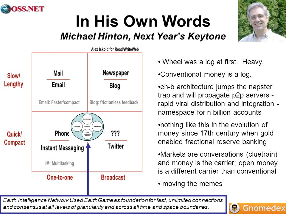 In His Own Words Michael Hinton, Next Year's Keytone