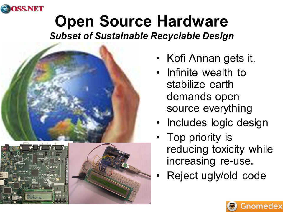 Open Source Hardware Subset of Sustainable Recyclable Design