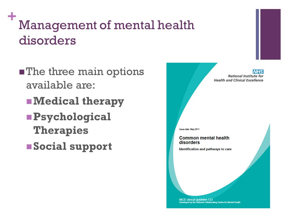 Management of mental health disorders