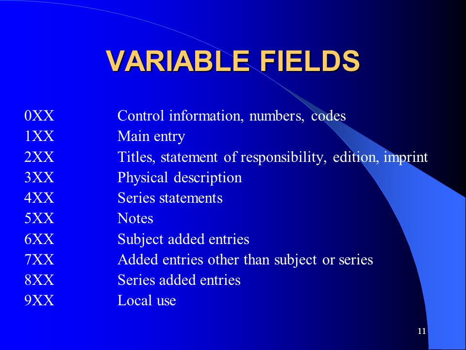 VARIABLE FIELDS 0XX Control information, numbers, codes 1XX Main entry