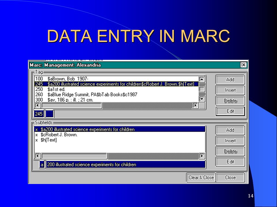 DATA ENTRY IN MARC