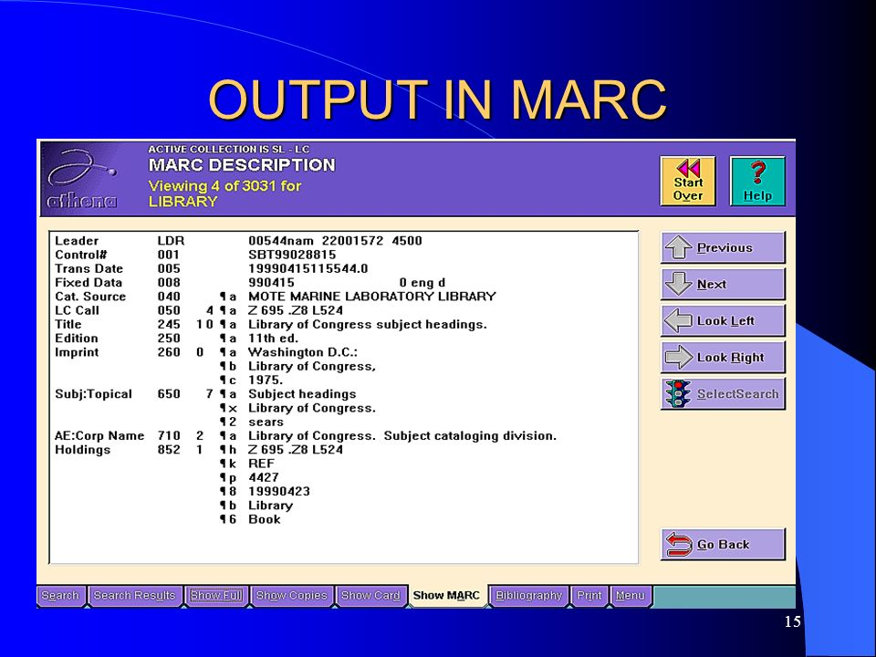 OUTPUT IN MARC