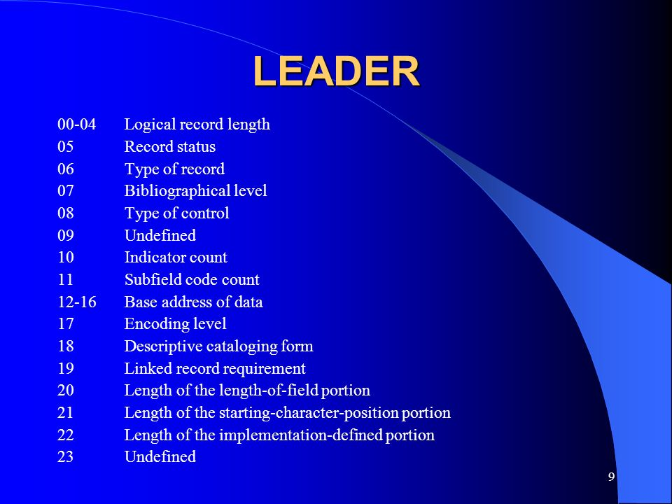LEADER 00-04 Logical record length 05 Record status 06 Type of record