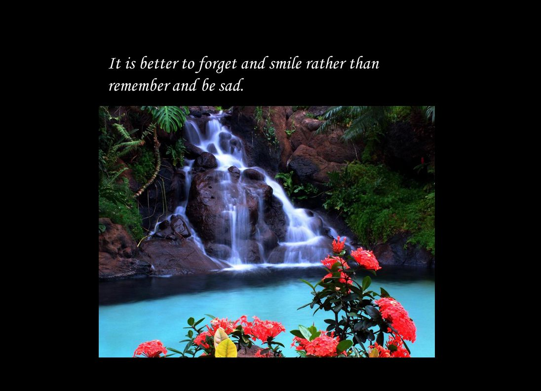 It is better to forget and smile rather than remember and be sad.