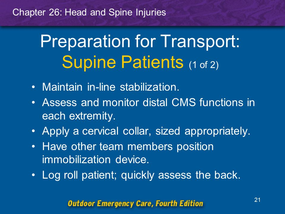 Preparation for Transport: Supine Patients (1 of 2)
