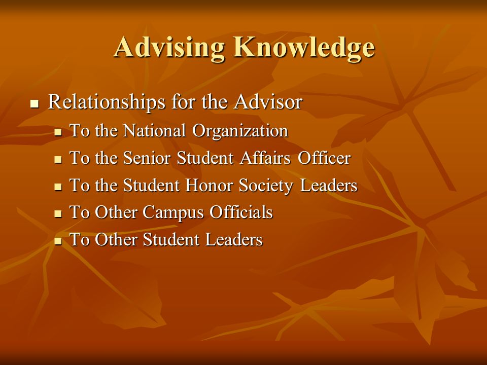 Advising Knowledge Relationships for the Advisor