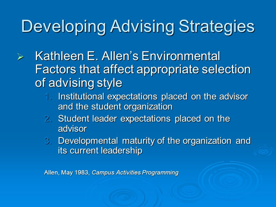 Developing Advising Strategies