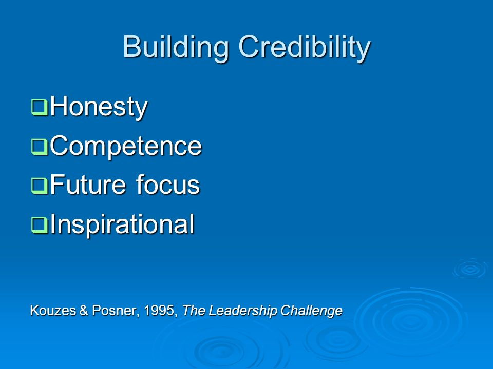 Building Credibility Honesty Competence Future focus Inspirational