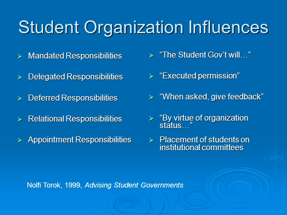 Student Organization Influences