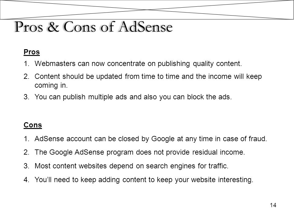 Pros & Cons of AdSense Pros
