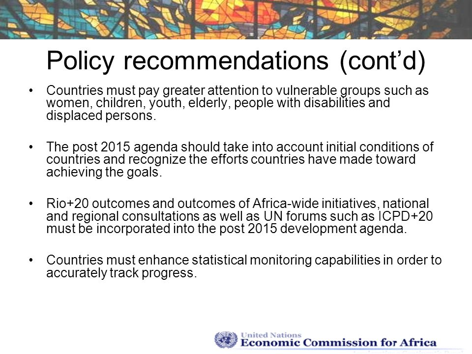 Policy recommendations (cont'd)