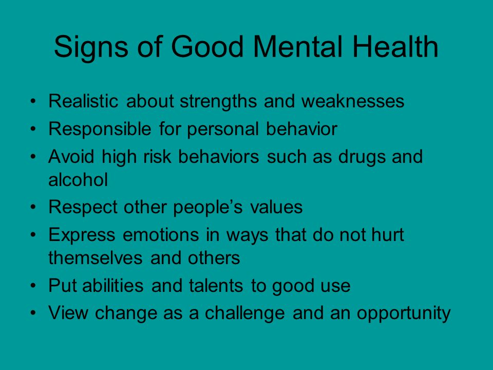 Signs of Good Mental Health