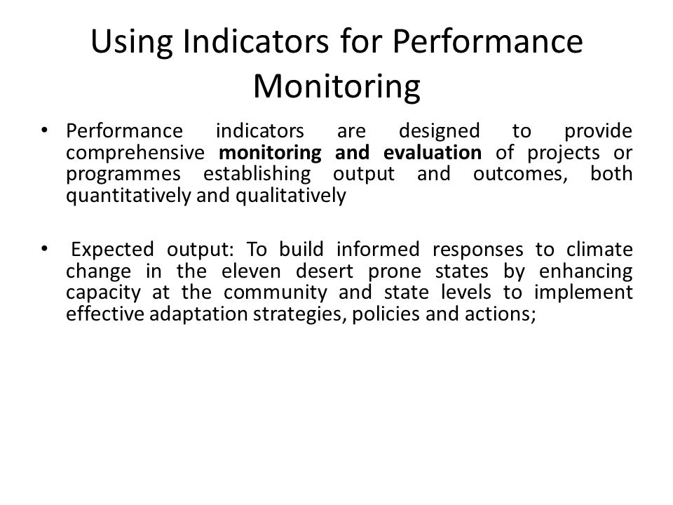 Using Indicators for Performance Monitoring