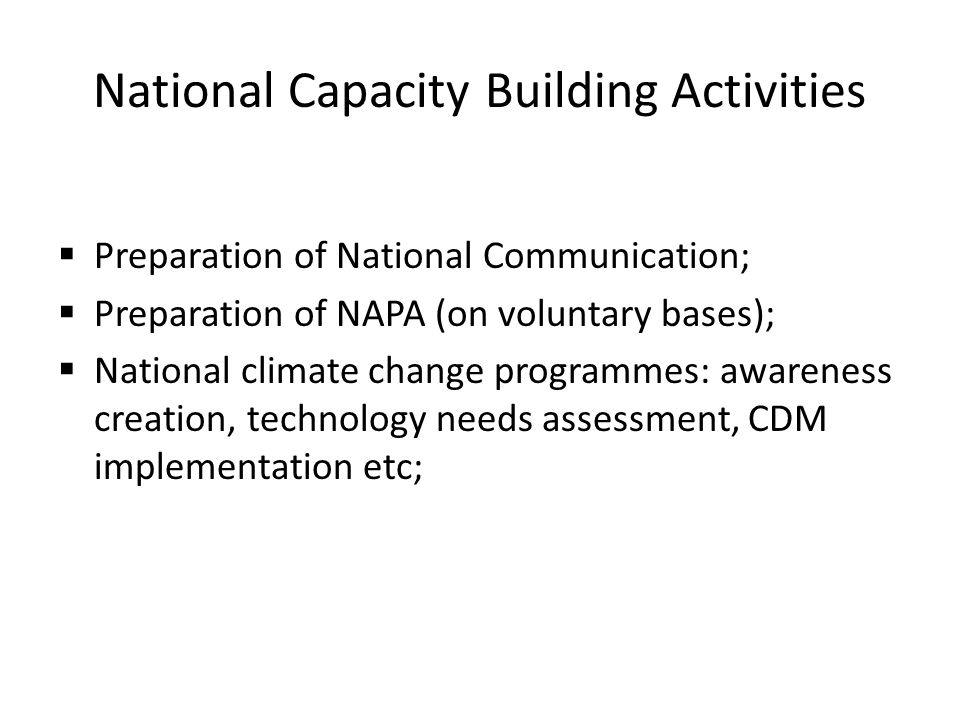 National Capacity Building Activities