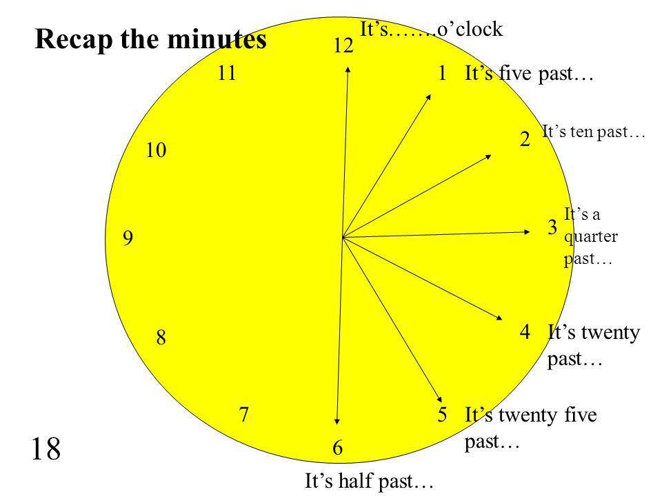 18 recap the minutes itsoclock its five past