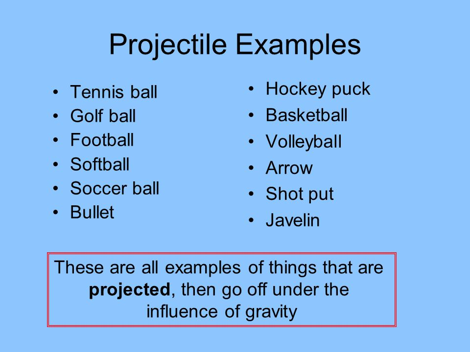 Projectile Examples Hockey puck Tennis ball Basketball Golf ball