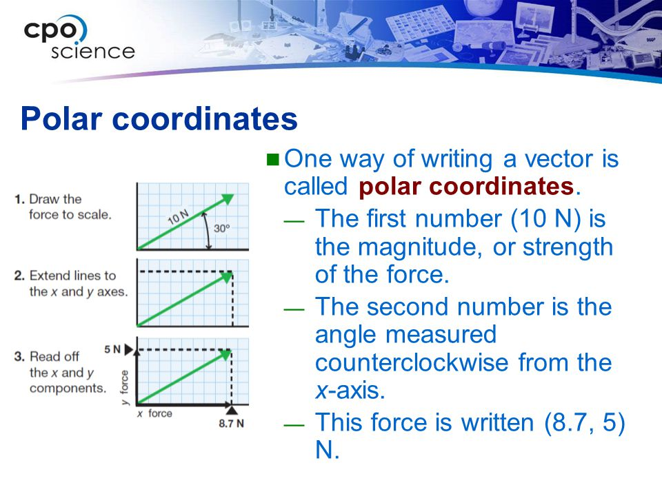 Polar coordinates One way of writing a vector is called polar coordinates. The first number (10 N) is the magnitude, or strength of the force.
