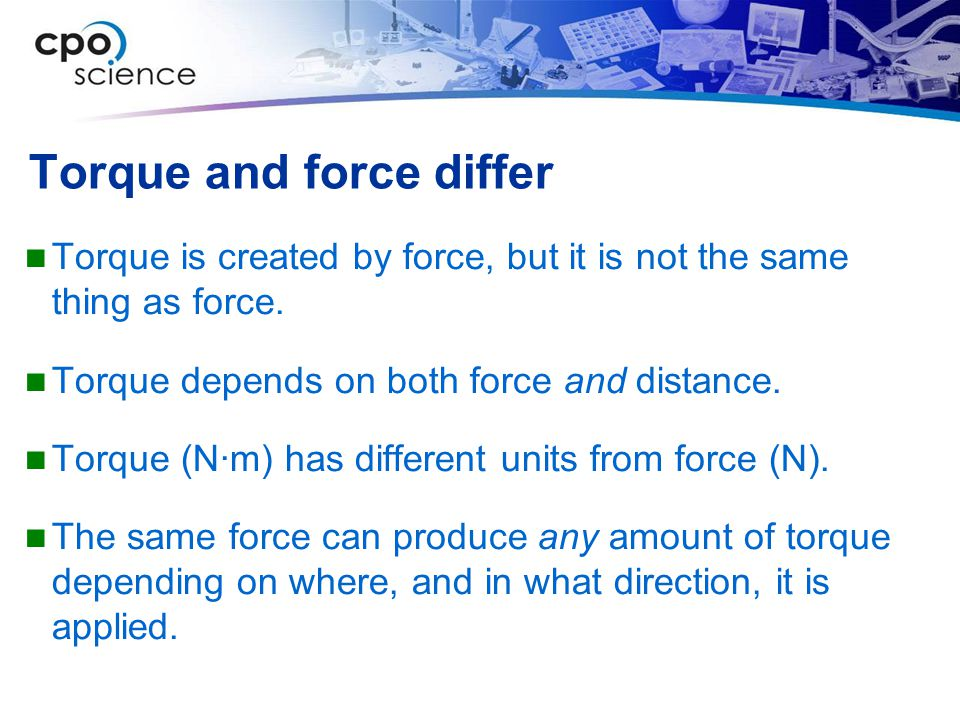 Torque and force differ