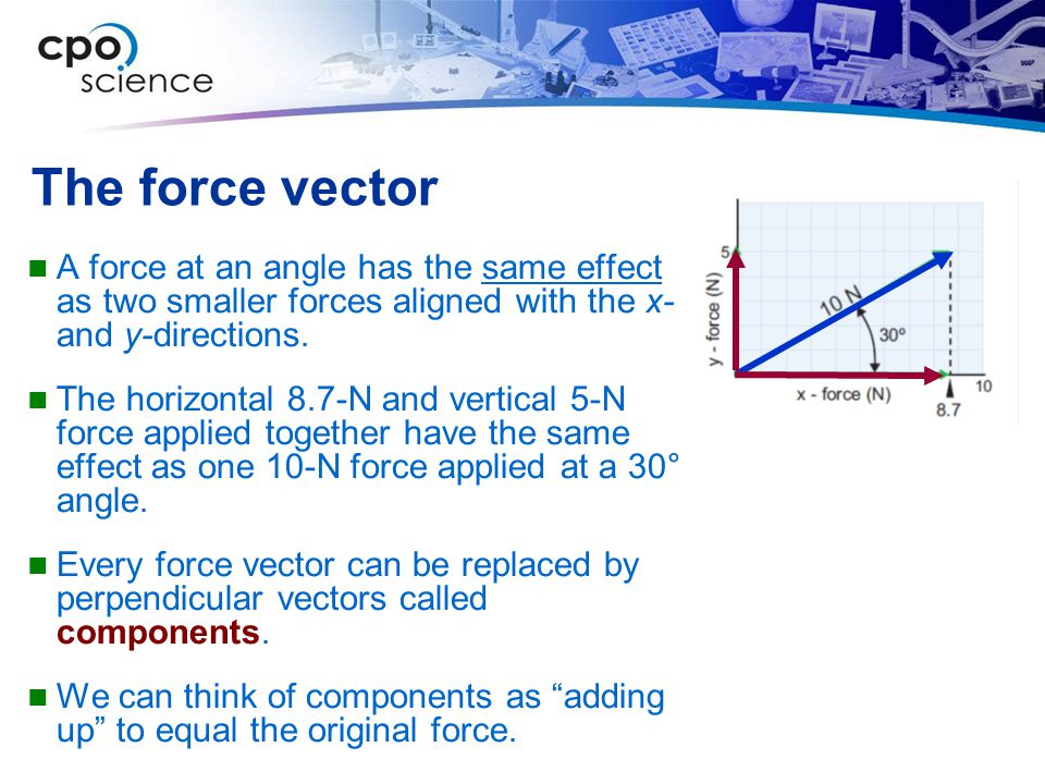 The force vector A force at an angle has the same effect as two smaller forces aligned with the x- and y-directions.