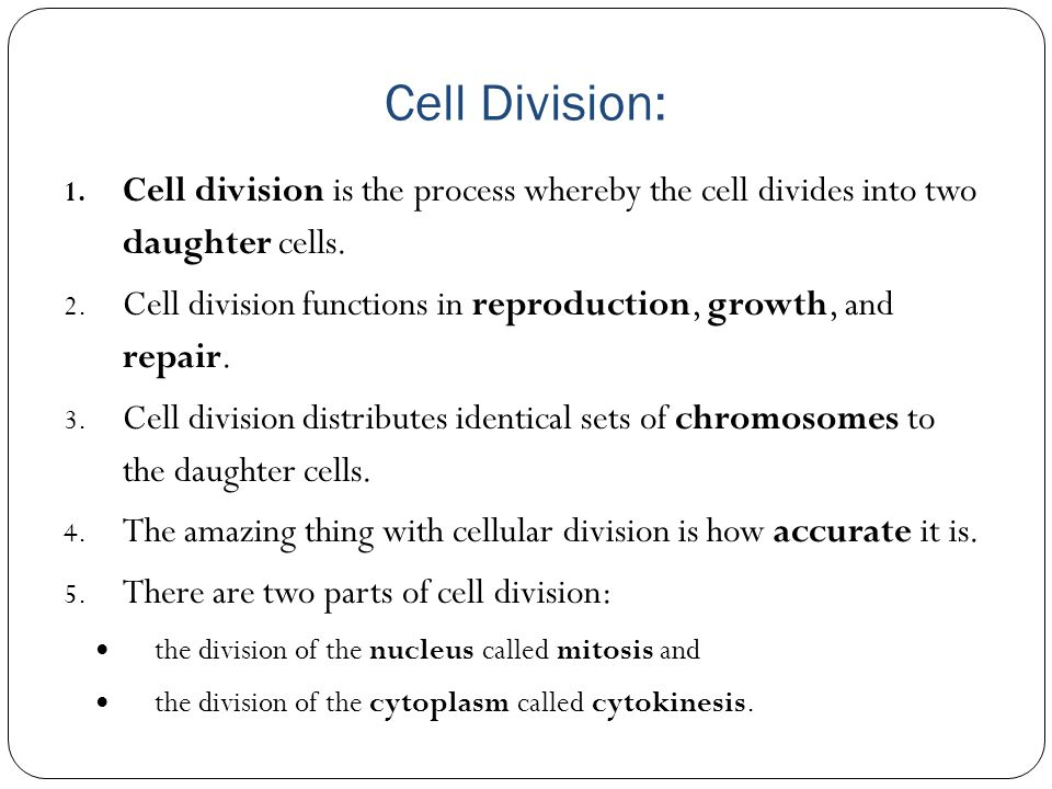 Cell Division: Cell division is the process whereby the cell divides into two daughter cells.