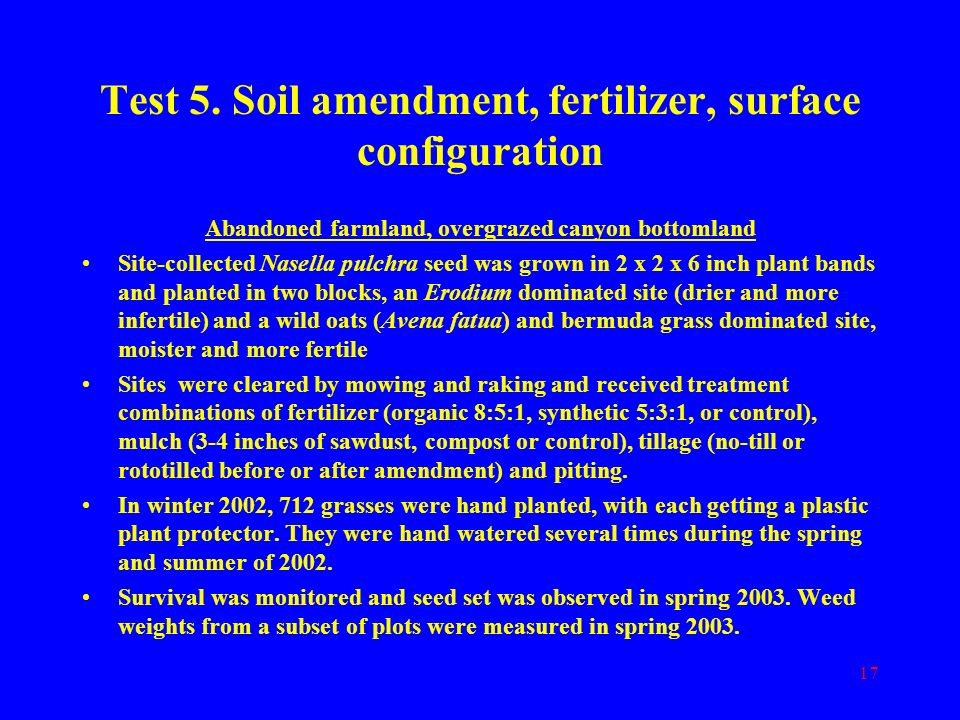 Test 5. Soil amendment, fertilizer, surface configuration