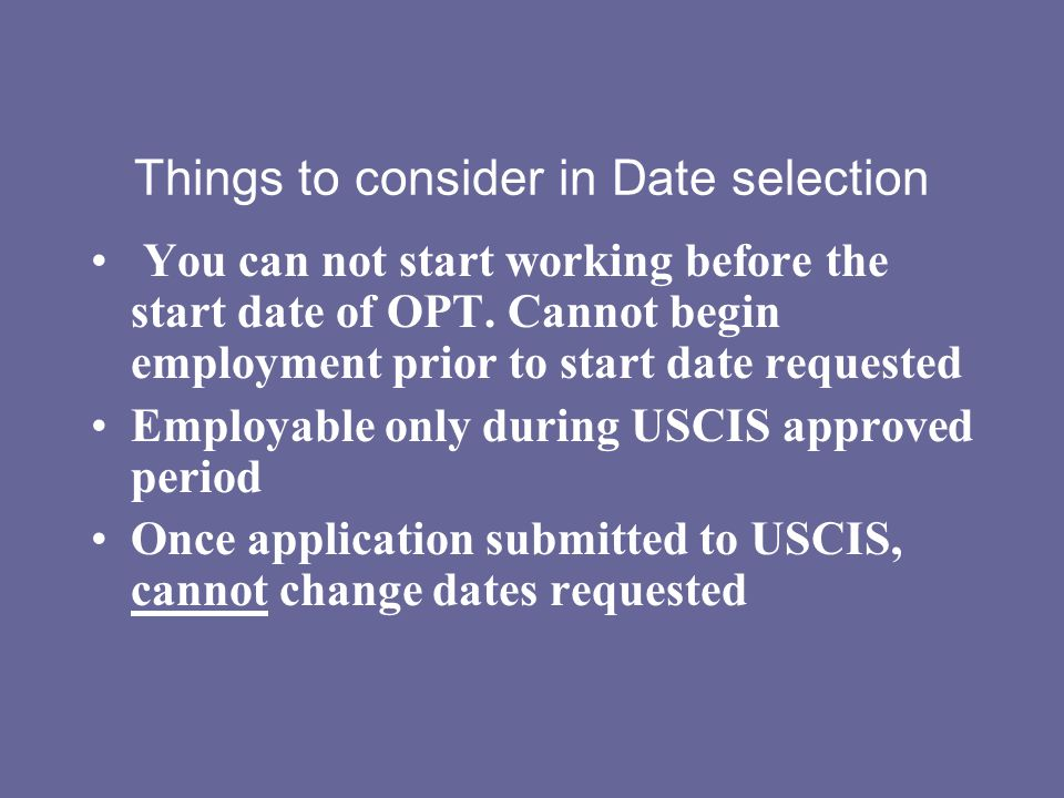Things to consider in Date selection