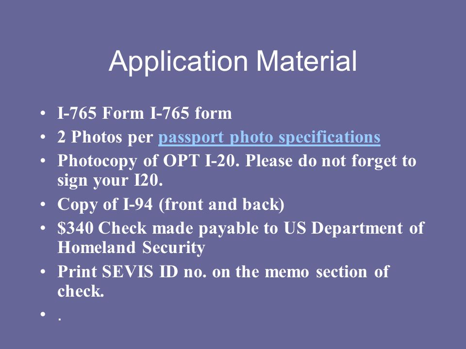 Application Material I-765 Form I-765 form