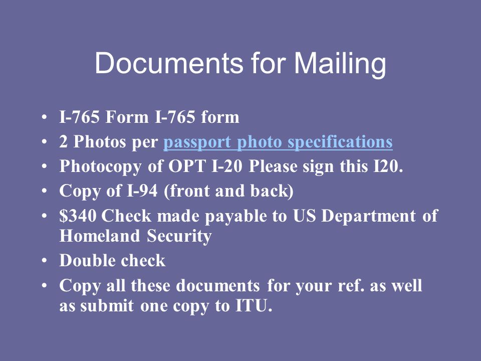 Documents for Mailing I-765 Form I-765 form