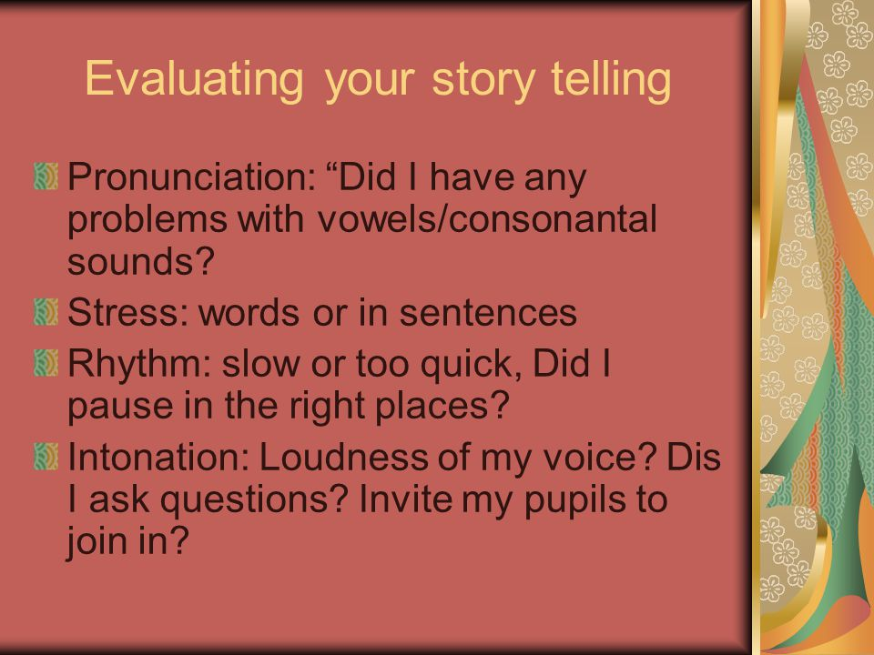 Evaluating your story telling